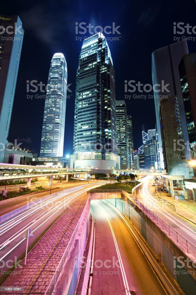 Hong Kong, traffic at night royalty-free stock photo