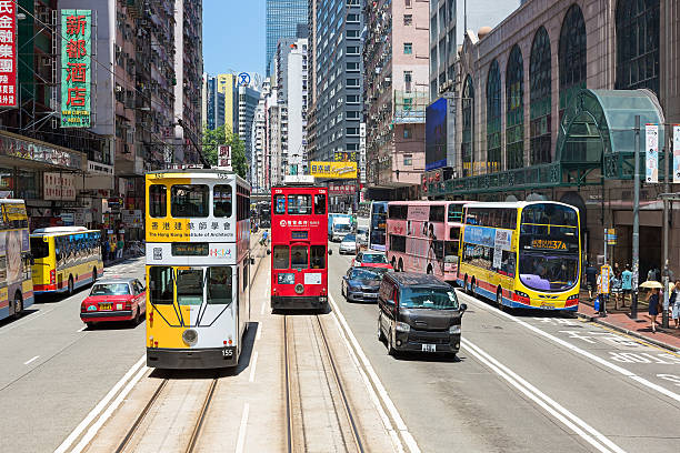 hong kong tram  - hong kong foto e immagini stock