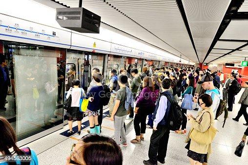 Passenger crowd waiting for subway train.