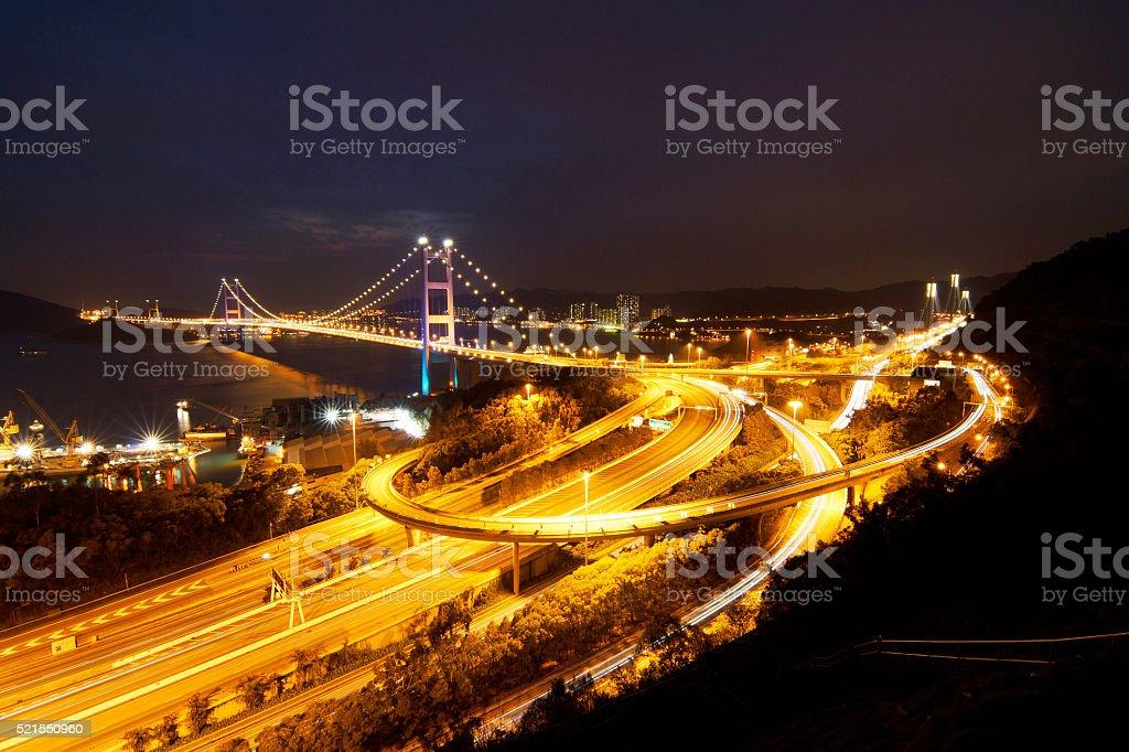 Hong Kong Tsing Ma Bridge at Night stock photo