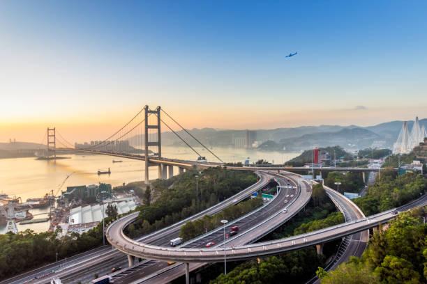 Hong Kong Tsing Ma Bridge - foto de stock