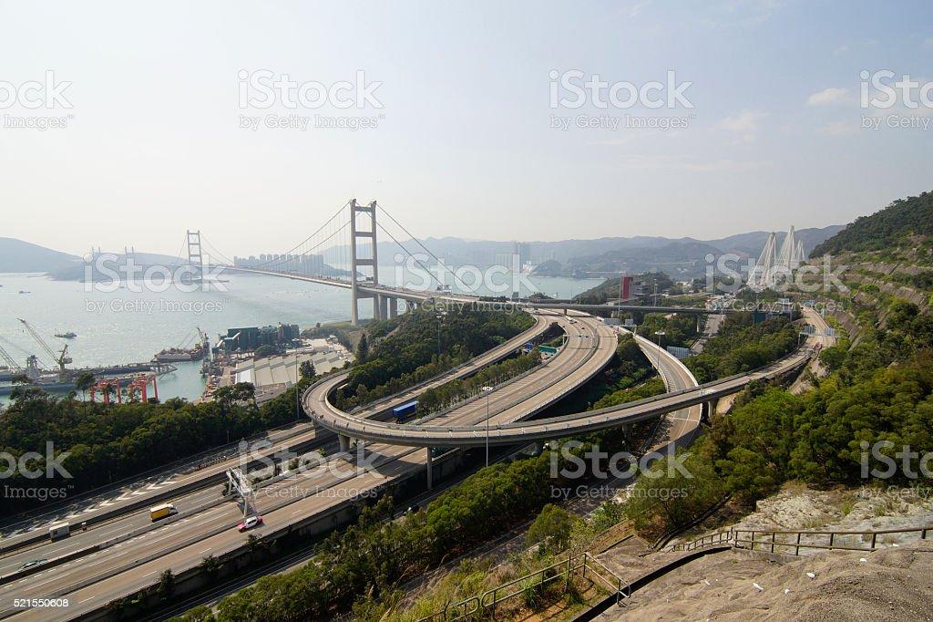 Hong Kong Tsing Ma Bridge stock photo