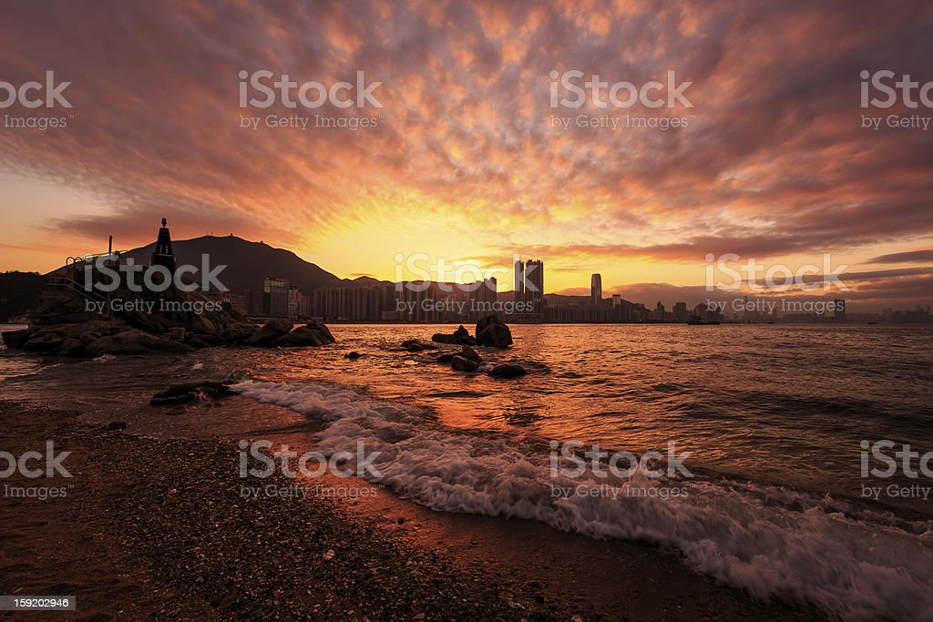 Hong Kong urban sunset beach royalty-free stock photo
