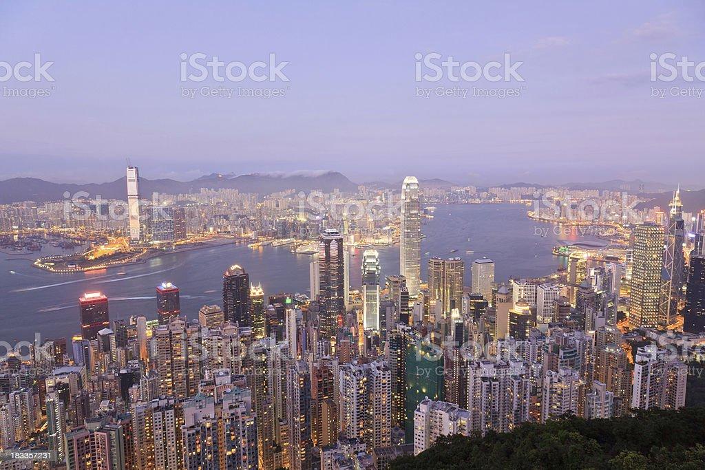 Hong Kong: Victoria Harbor at night royalty-free stock photo