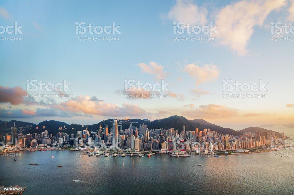 Hong Kong Victoria Harbor from Air stock photo