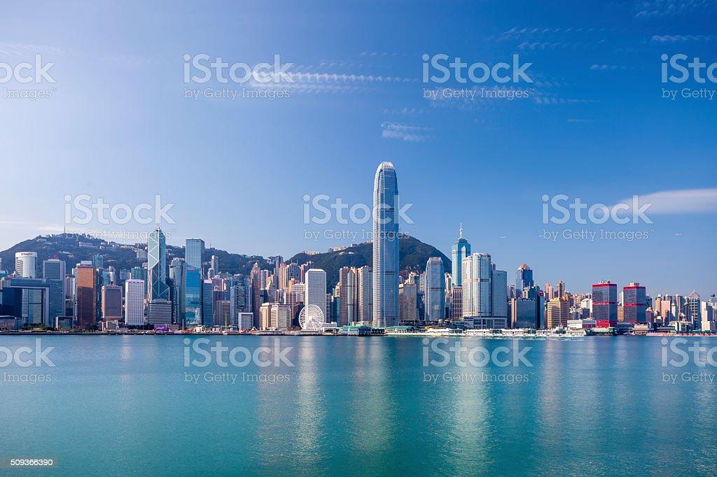 hong kong victoria harbor - Royaltyfri Arkitektur Bildbanksbilder