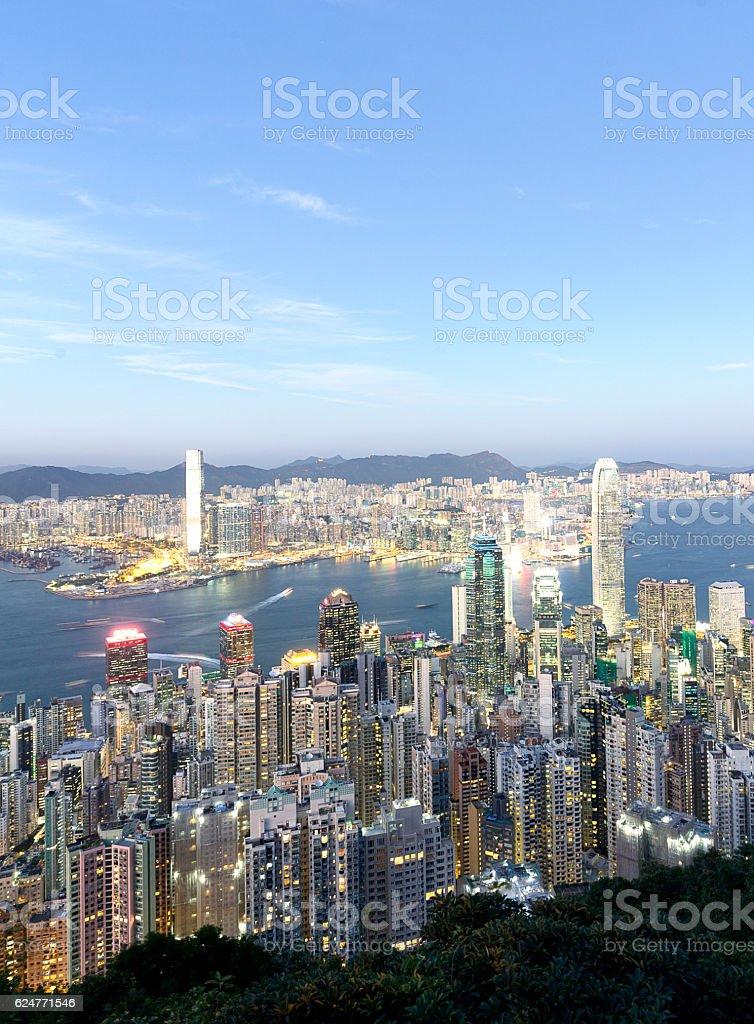 Hong Kong Victoria Harbor under blue sky stock photo
