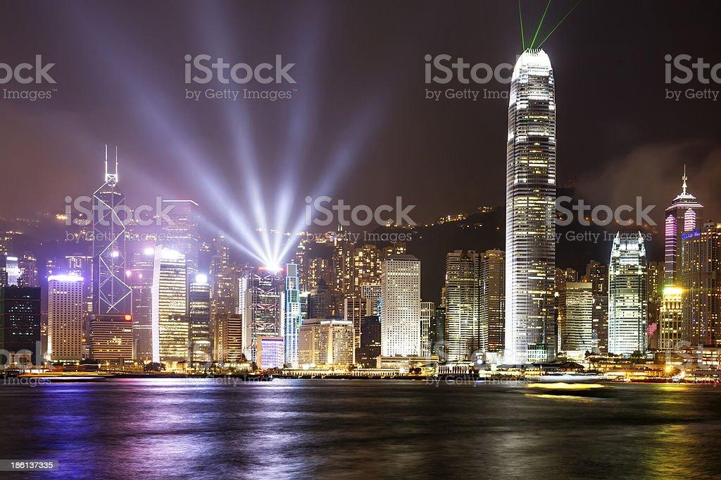 Hong Kong view of Victoria Harbor stock photo