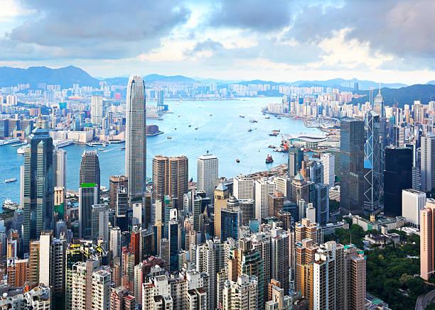 vista de hong kong - hong kong fotografías e imágenes de stock