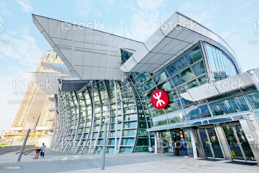 Hong Kong West Kowloon Station West Kowloon, Hong Kong - 29 January, 2019 : Hong Kong West Kowloon Station. It is the only station in the Hong Kong section and connects to the mainland China section through a dedicated tunnel. Architecture Stock Photo
