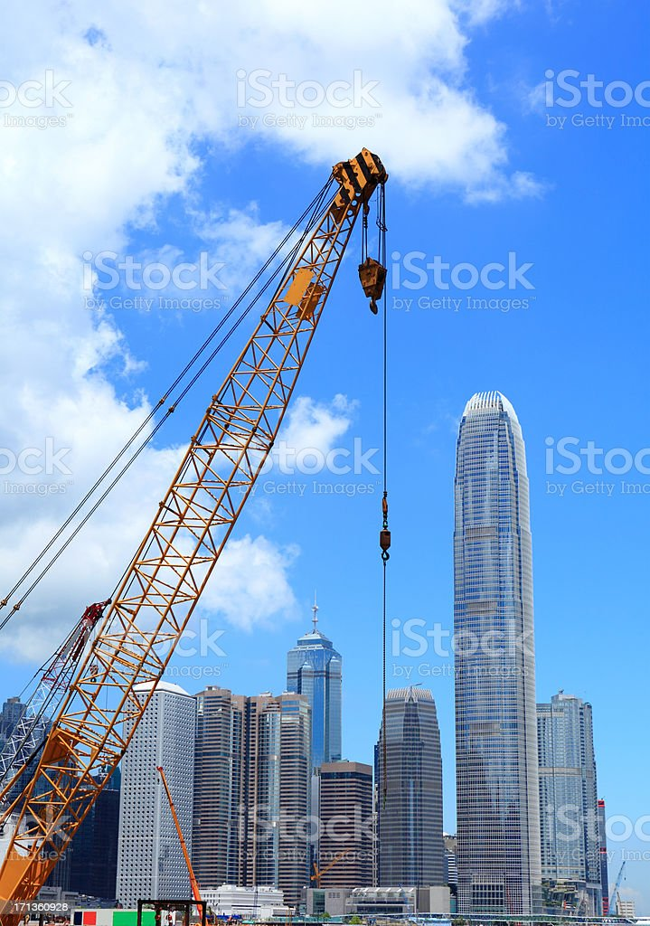 Hong Kong with construction crane royalty-free stock photo