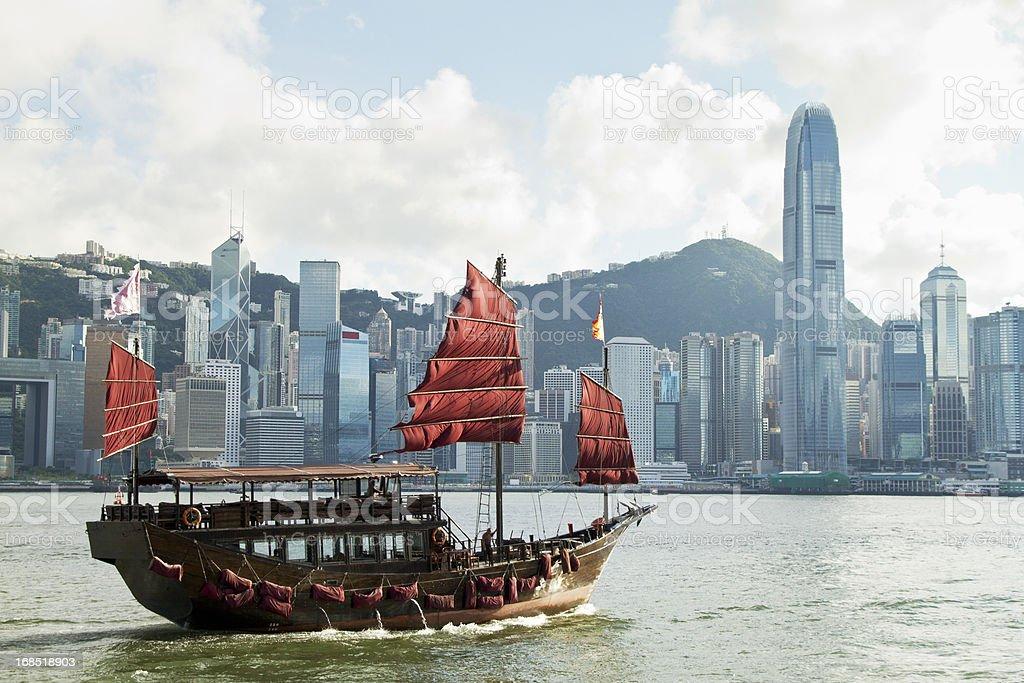 Hong Kong's traditional sailing junk royalty-free stock photo
