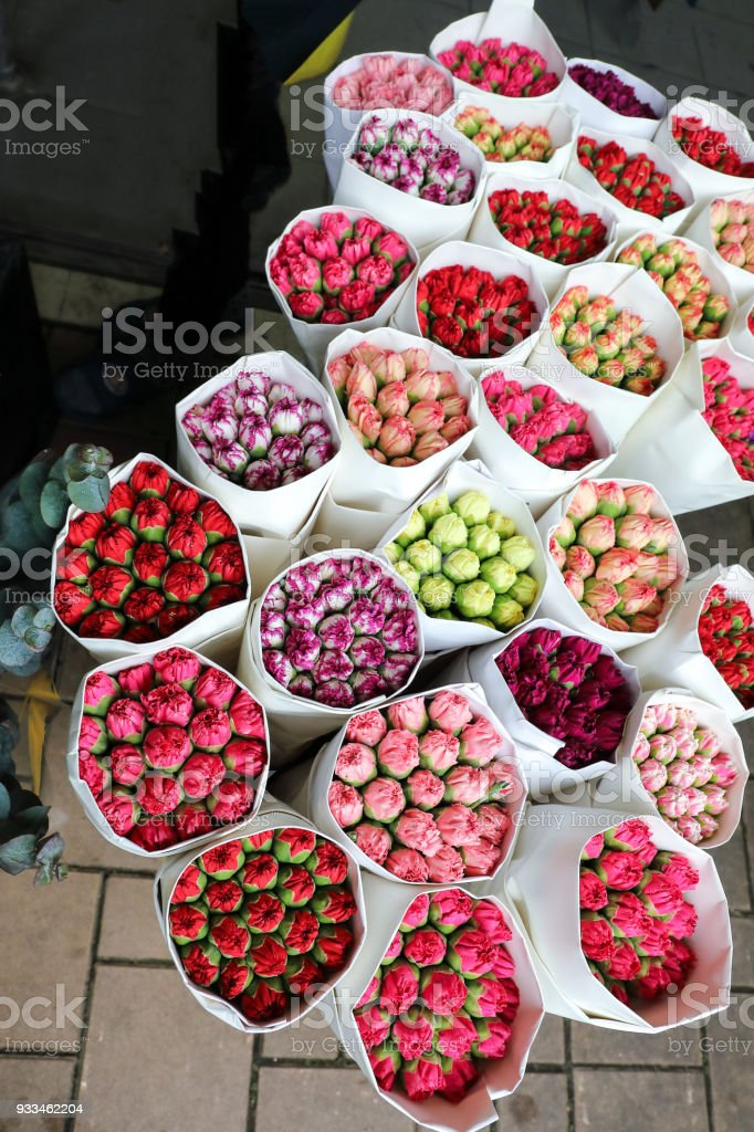 HONG KONG- FEBRUARY 19, 2018- Hong Lok Street, Yau Tsim Mong District, Kowloon were more than 50 plant shops clustered close together for wholesale and retail of flowers and plants stock photo