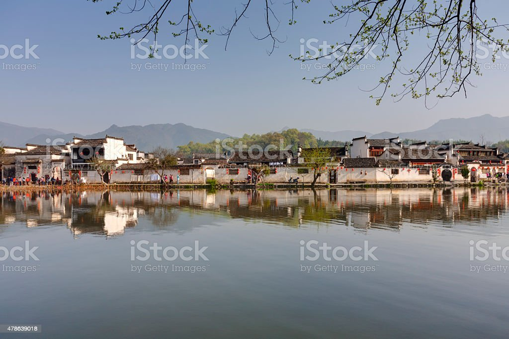 Hongcun, Ancient village in south China. stock photo