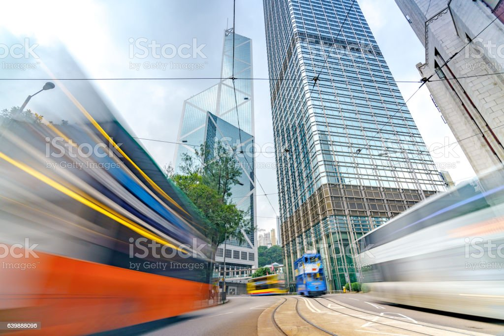 Hongkong busy traffic junctions stock photo