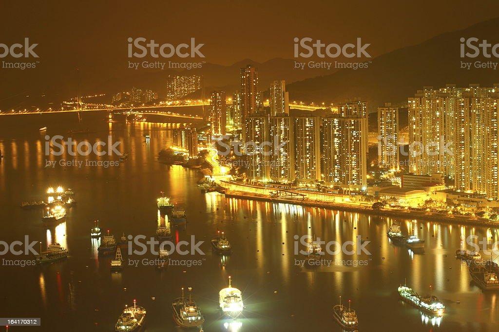 HongKong cityscape at night royalty-free stock photo