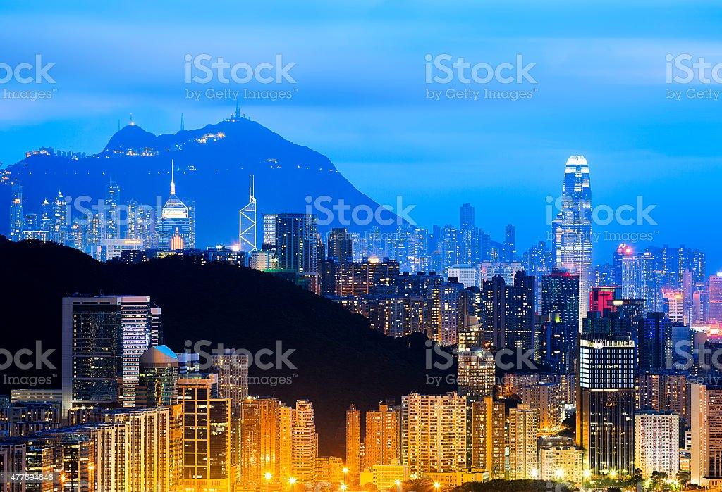 Hongkong Skyline bei Nacht – Foto