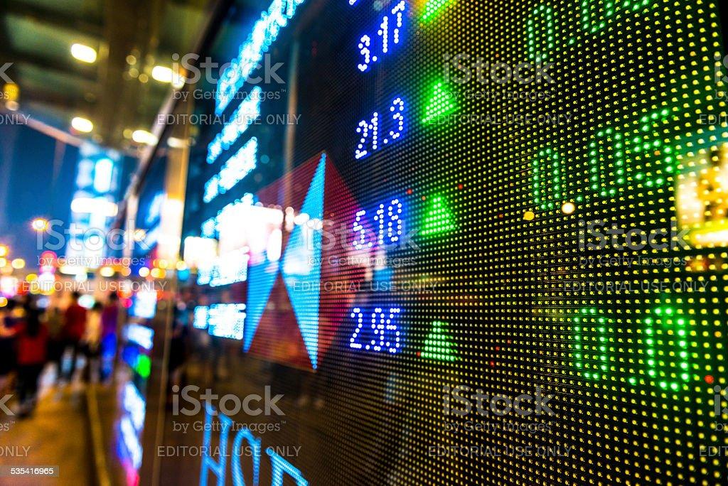 Hongkong stock exchange market display screen board on the street. stock photo