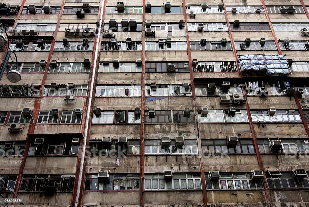 Hongkong Style Old Residential royalty-free stock photo