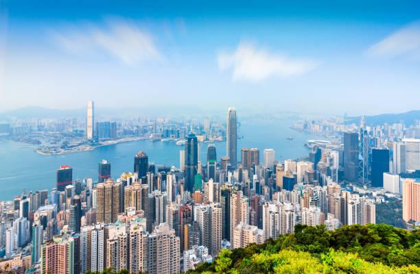 Horizonte escénico de la ciudad de Hongkong Taiping pico - foto de stock