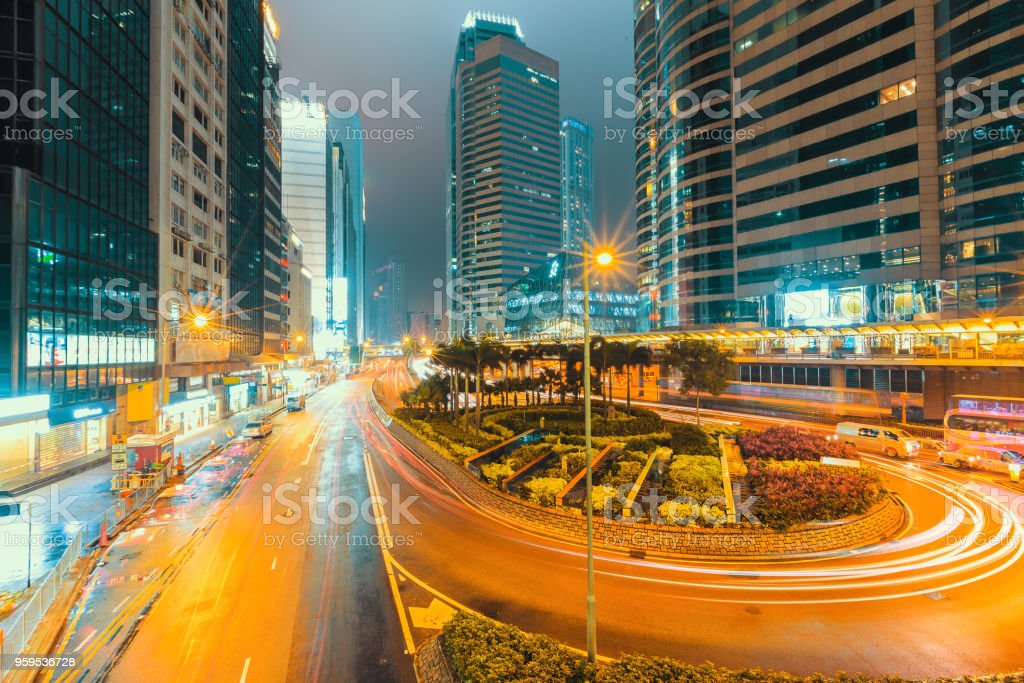 Hongkong traffic cityscape at sunset stock photo