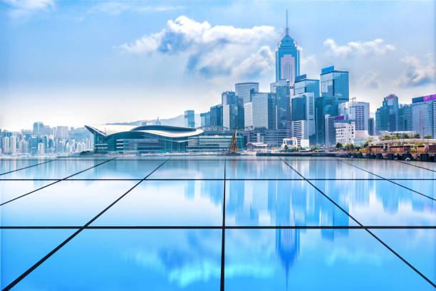 Hong Kong Puerto de Victoria construcción de grupo y pie de vidrio Resumen - foto de stock