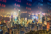 Hongkong's prosperous skyline and financial markets in the evening