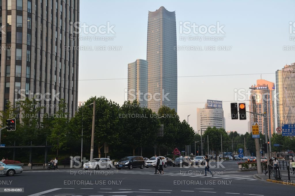 Hongkou district road intersection and Sinar Mas Center skyscraper, Shanghai stock photo