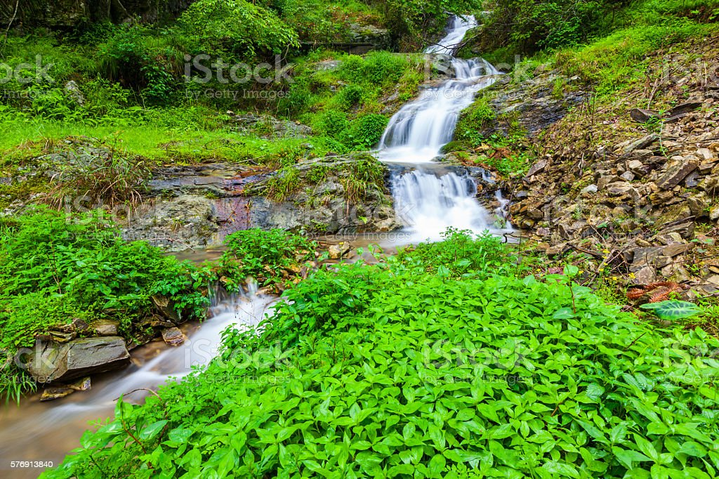 hongxi waterfall  in the primeval forest,lingui,guilin,china stock photo