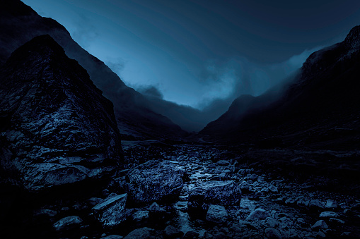 Honister pass in Lake District, Cumbria,UK.Foggy mountain pass.Dark and dramatic landscape image with atmospheric mood.Bad weather in the mountains.