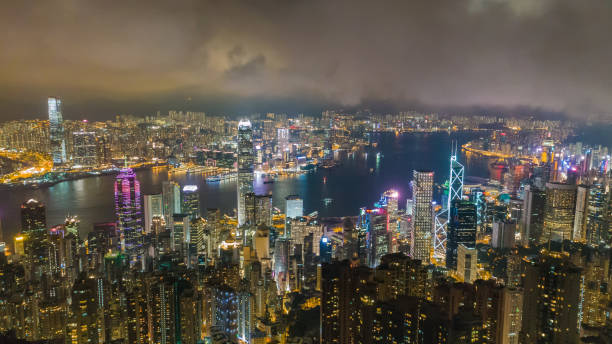 honk kong stadt bei nacht. china. - kowloon stock-fotos und bilder