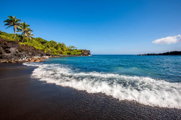 Honokalani Black Beach Wainapanapa Maui Island Hawaii stock photo