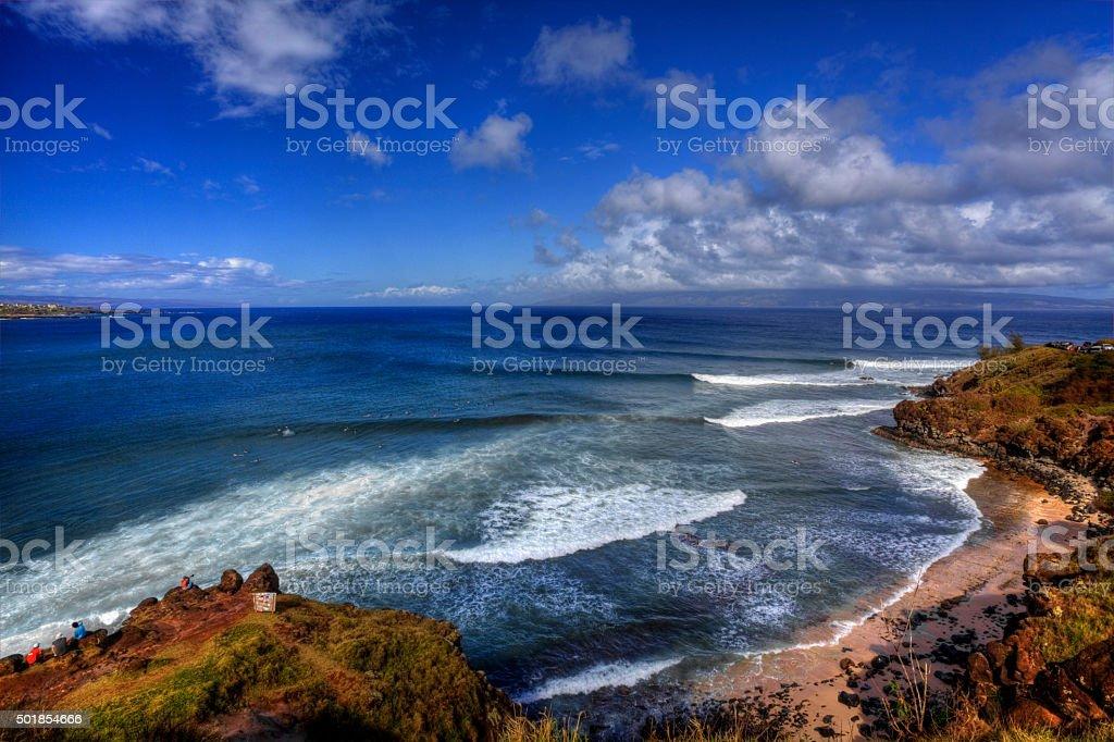 Honolua Bay, a great surfing spot in Hawaii stock photo
