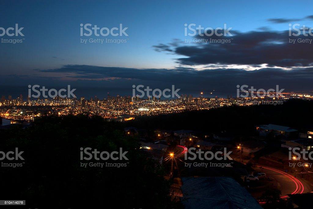 Honolulu at night stock photo
