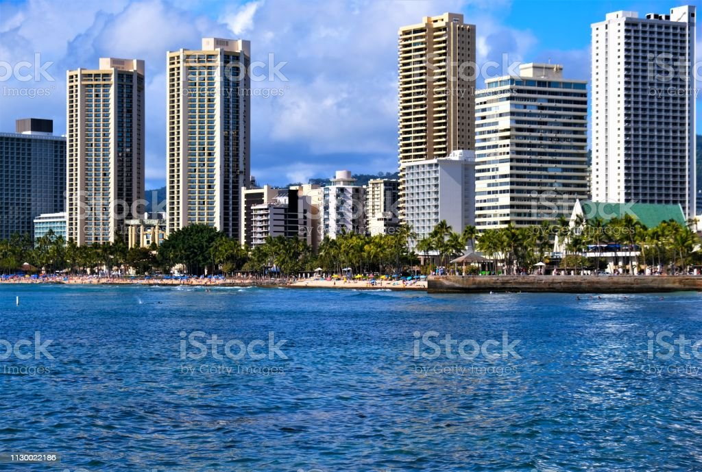 Honolulu Coastline Including Waikiki Beach Oahu Hawaii Stock