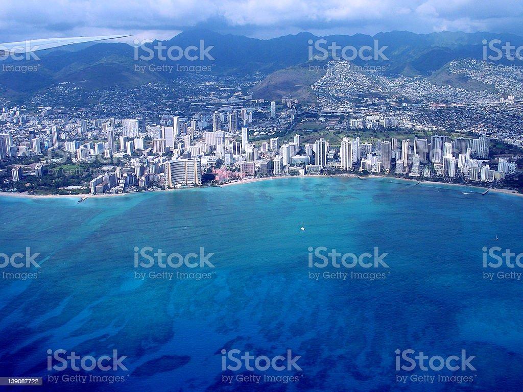 Honolulu fly-over royalty-free stock photo