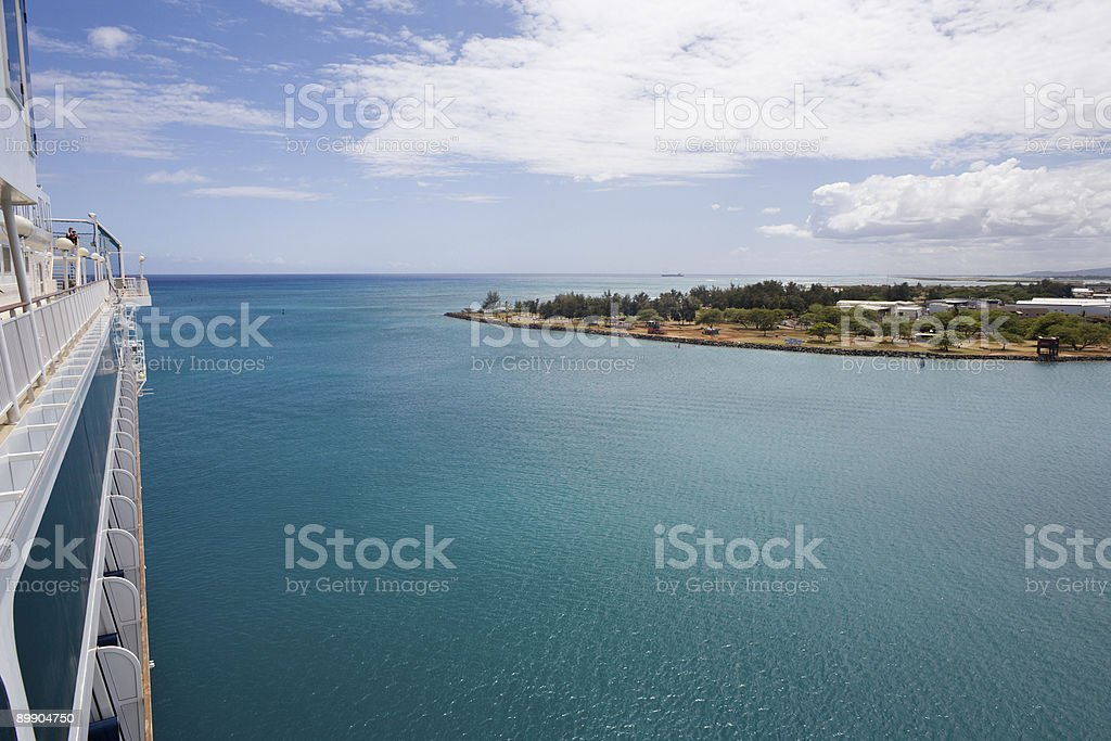 Honolulu Harbor from Cruise Ship royalty-free stock photo