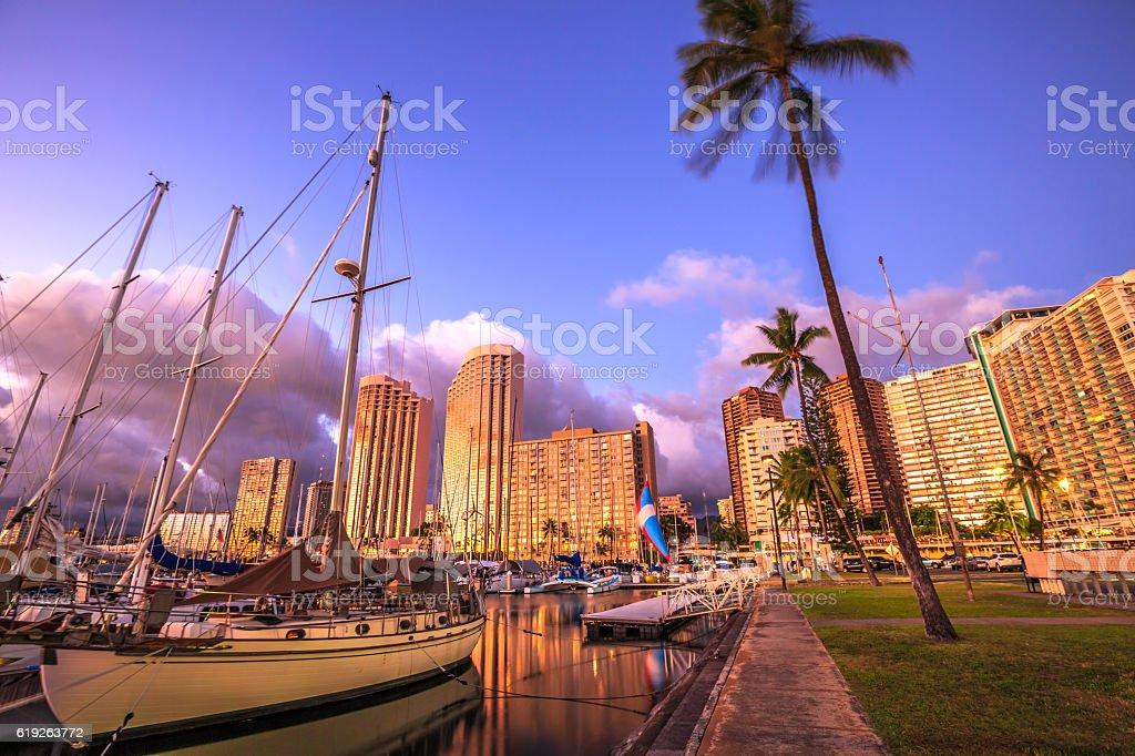 Honolulu Harbor Oahu stock photo