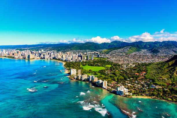 Honolulu Hawaii from Above stock photo