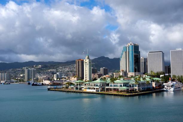 Honolulu, Hawaii Harbor and Cruise Port stock photo