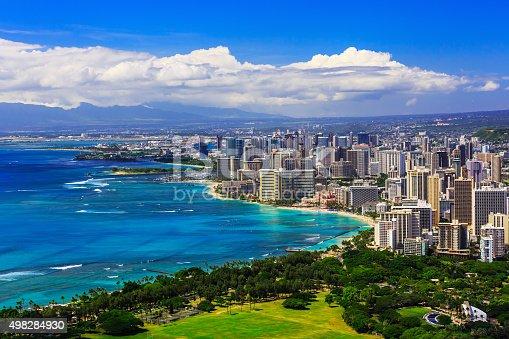 Skyline of Honolulu, Hawaii and the surrounding area including the hotels and buildings on Waikiki Beach