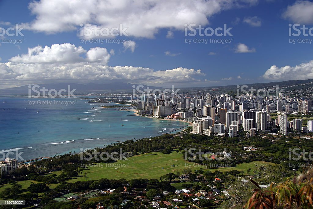 Honolulu, Hawaii Skyline from Diamond Head Crater. royalty-free stock photo