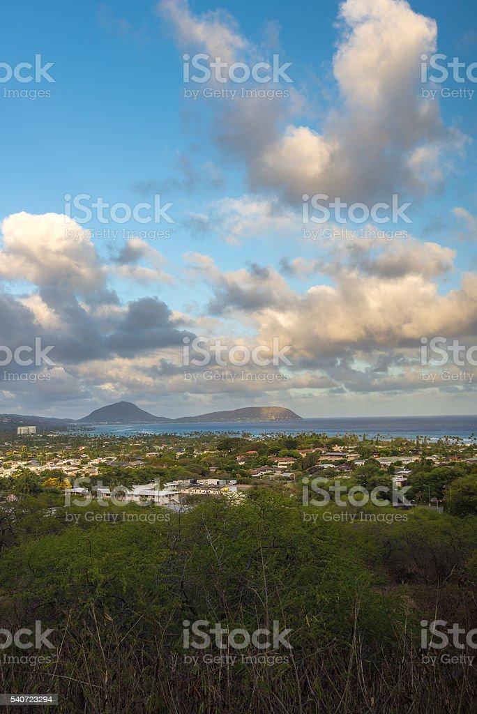 Honolulu overlook view stock photo