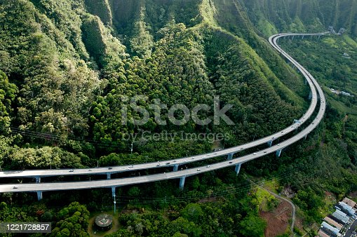 Honolulu famous H-3 highway winding through the valley, known buy locals as the John A. Burns Freeway.