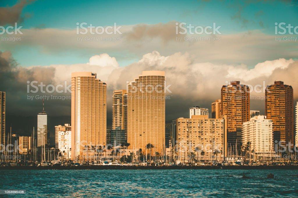 honolulu skyline, oahu island, hawaii islands stock photo