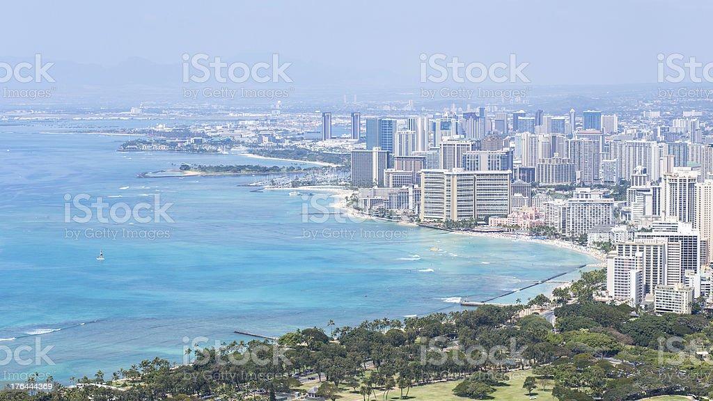 Honolulu skyline with Waikiki beach and seascape royalty-free stock photo