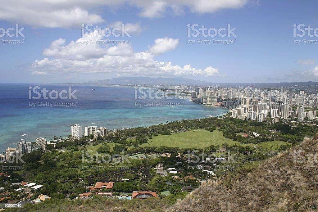 Honolulu viewed from Diamond Head royalty-free stock photo