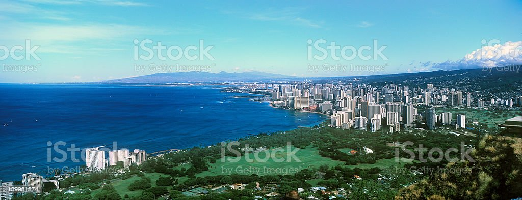 Honolulu, Waikiki Beach from Diamond Head stock photo