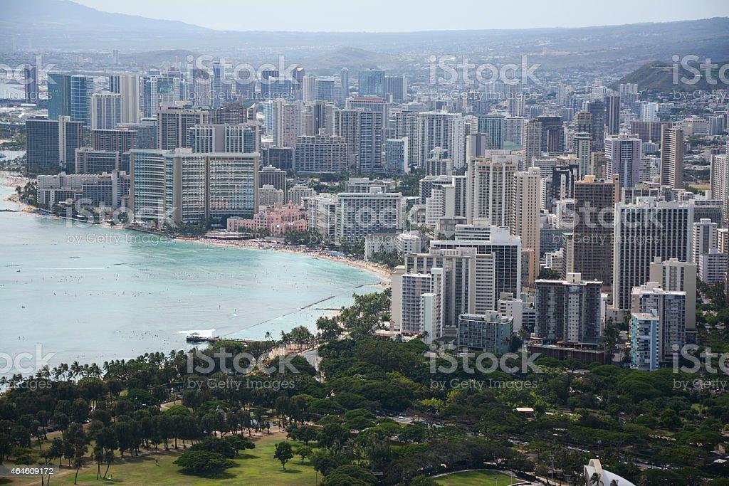 Honolulu - Wakiki skyline stock photo