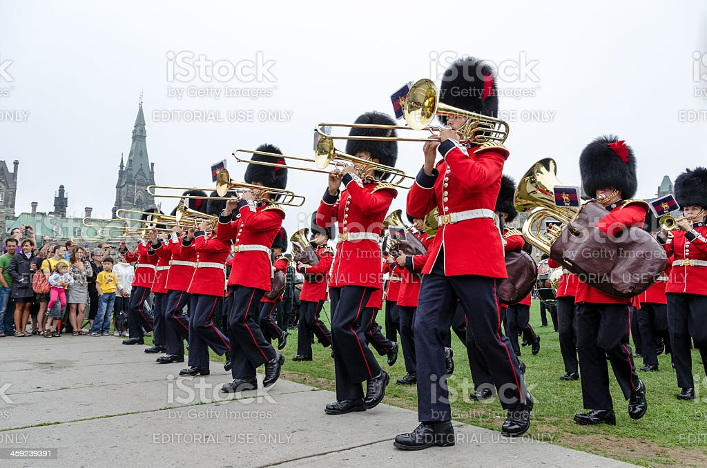 Honor Guard Band Marching at the Parliament of Canada stock photo
